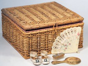 WOVEN BASKET & ANTIQUE DOLL ACCESSORIES