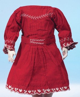 ANTIQUE RED COTTON DOLL DRESS