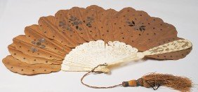 IVORY-HANDLED CUTWORK FAN WITH SILK TRIM