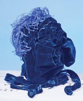 ANTIQUE BLUE VELVET BONNET WITH ORIGINAL LABEL