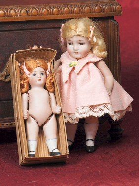 TWO GERMAN ALL-BISQUE DOLLS BY ALT, BECK & GOTTSCHA