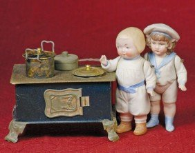 """TWO GERMAN ALL-BISQUE DOLLS.  5"""" And 5 �"""".  All-bis"""