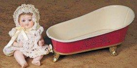 "MINIATURE TIN BATH TUB.  7"" L.  Tin Bath Tub Has I"
