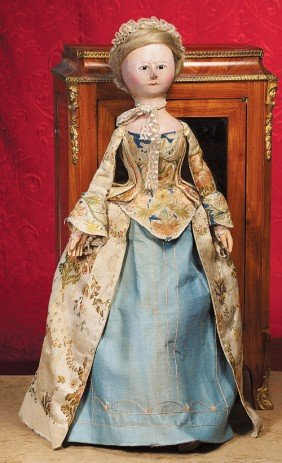"""A FINE, LARGE ENGLISH WOODEN DOLL KNOWN AS """"QUEEN"""