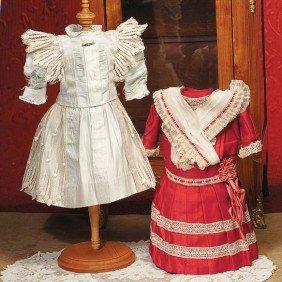 "ANTIQUE RED COTTON COMMERCIAL FACTORY DRESS.  4"" S"