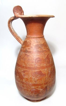 Large And Attractive Etrusco-Corinthian Red-figure Olpe
