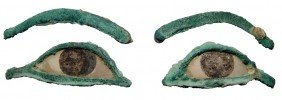 2 Bronze Eyes With Inlays From A Sarcophagus