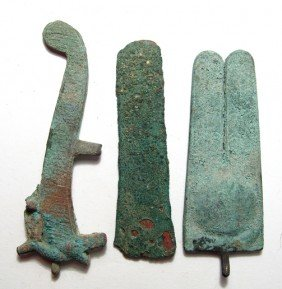Lot Of 3 Egyptian Bronze Items, Late Period