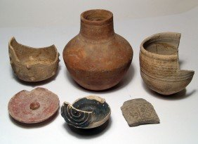 Lot Of 6 Roman And Other Pottery Objects