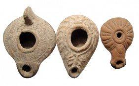 Lot Of 3 Ancient Ceramic Oil Lamps