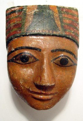 Egyptian Wood Mummy Mask, New Kingdom