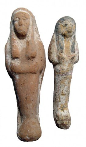 Pair Of Late New Kingdom Terracotta Ushabtis
