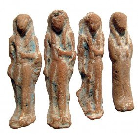 4 Glazed Terracotta Ushabtis, Late Period
