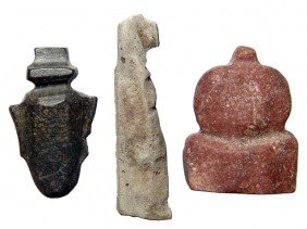 3 Egyptian Stone Amulets, Late Period