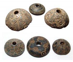 6 Coptic Steatite Spindle Whorls, Roman Period