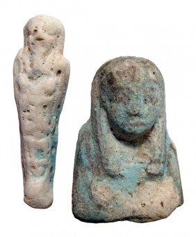 2 Egyptian Ushabtis, New Kingdom To Late Period