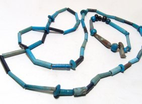 Egyptian Necklace And Matching Bracelet Of Faience