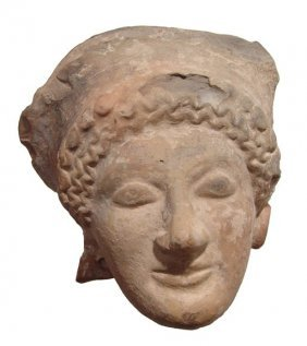 Attractive Terracotta Female Head, C. 5th Century Bc