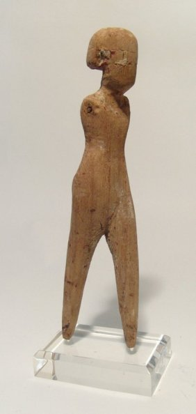 A Large Egyptian Wood Figure Of A Striding Man, Late