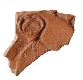 Roman North African Red-ware Pottery Shard Depicting