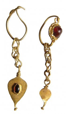 A Pair Of Roman Gold And Garnet Earrings