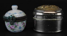 (2) Boxes,steel Snuff And Porcelain Trinket