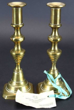 Pair English Brass Candlesticks, C.1850
