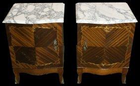 Pair Louis Xvi Nightstands, Marble Tops, C.1900