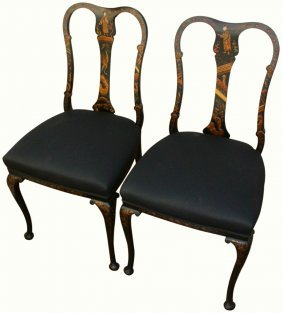 Pair Queen Anne Style Lacquered Chairs