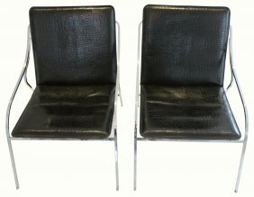 Pair Chairs Charles Ames, C. 1960 Faux Snake