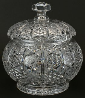 Covered Punch Bowl, Brilliant Cut Crystal