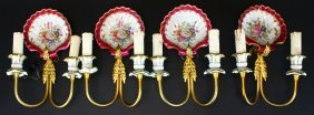 Dresden Wall Sconces, (4) Hand Painted, Gilt