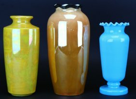 Three Piece Pottery, (2 Yellow, 1 Blue)
