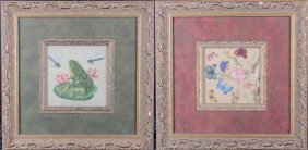 Pair Of Petit Point Works Framed, Circa 1880