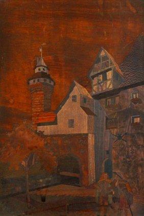 Plaque, Wood Marquetry, C. 1900