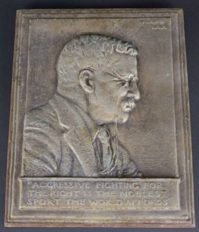 Roosevelt Cast Iron Plaque, 1920 By Fraser