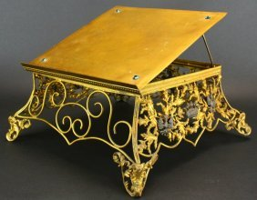 French Bookstand, Bronze And Gilded Metal C. 1900