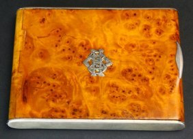 Cigarette Case, Burled Maple & Silver, 19th C
