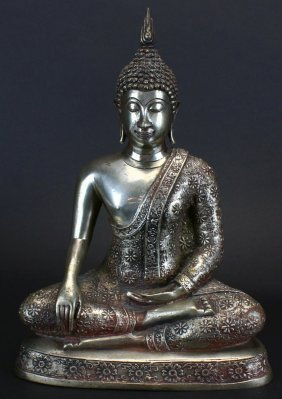 Bronze Statue Of Seated Thai Buddha