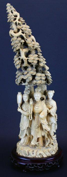 Ivory, Empress, Attendants, Pine Tree,19th C.