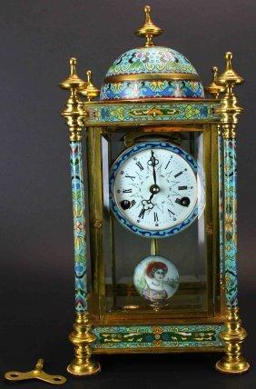 Cloissone Shelf Clock, Brass, Glass