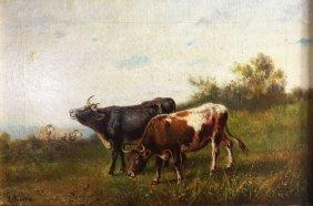 O/c, Cows & Sheep, Giuseppe Milone, C.19th