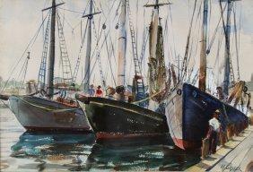 W/c, Boats At Dock, Henry Gasser