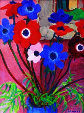 O/b, Still Life Flowers In Vase, Kyobei Inukai