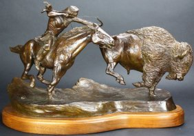 "Sculpture, Bronze, ""great Plains Provider"" Signed"