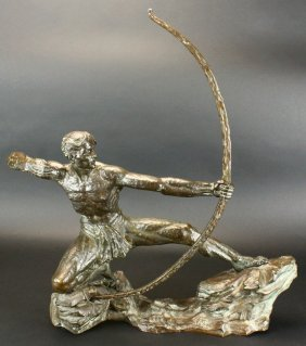 "Bronze, ""hercules The Archer"" - Dautrive, C. 1930"