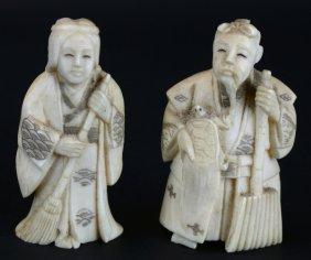 Netsukes (2), Boxed, Ivory