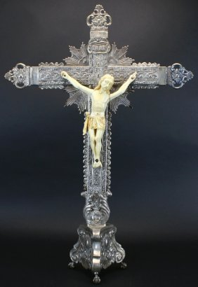 Silver, Ivory Crucifix, Spanish Colonial, C. 1730