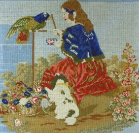 Needlepoint, Little Vicky, Dash & Family Parrot