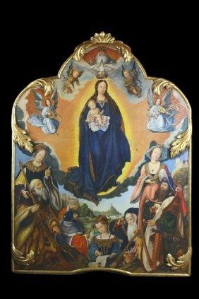 Venetian Icon, Mary, Jesus, Angels, Human